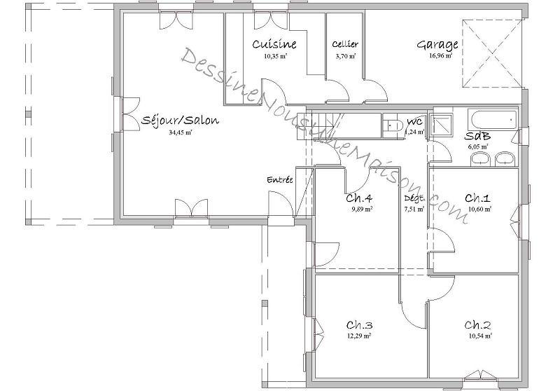 plan de maison 5 chambres avec etage